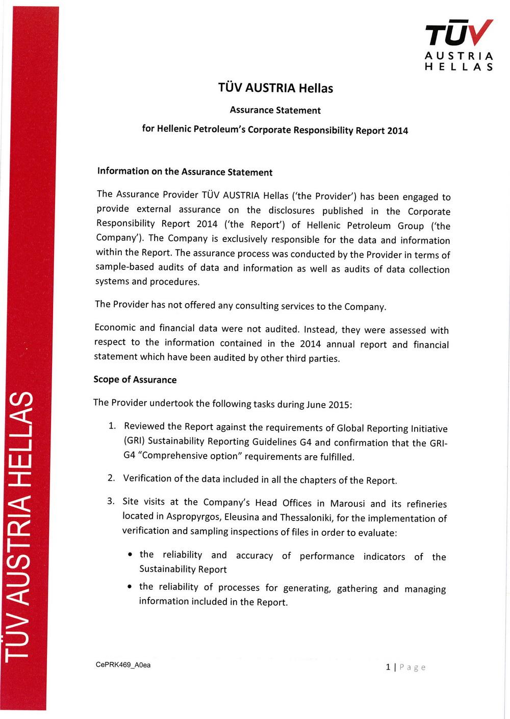 sustainabilityreport - Report\'s Certification
